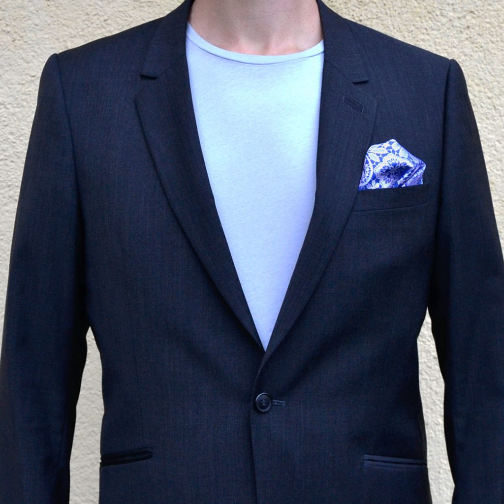 Steel blue pocket square with white flowery pattern